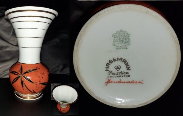 Porcelain vase / vessel Gerold & Co., embossed model number 4372 Tettau Bayern Hagemann Porzellan Manufaktur Handmalerei Bavaria Germany
