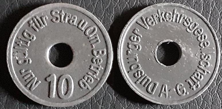 Notgeld Wertmarke 10 Reichspfennig 1947 – 1948 Duisburger Verkehrsgesellschaft A.-G. Nur gültig für Str. u. Om. Betrieb - Coin Token